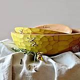 Nádoby - Set žltých prešívaných drevených mís - 13470256_