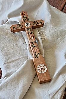 Dekorácie - Kríž maľovaný - farebný kvet špirála I. - 13470171_