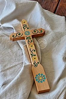 Dekorácie - Kríž maľovaný - farebný kvet špirála II. - 13470174_