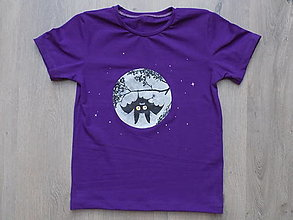 Tričká - Tričko Hanging Bat (fialové) - 13470691_
