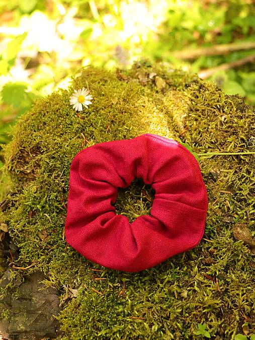 Scrunchies ľanová gumička červená