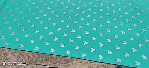 Textil - Teplákovina - Myšky strieborné trblietavé na tyrkysovom - cena za 10 centimetrov - 13471433_