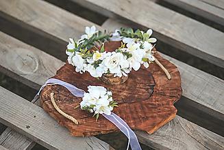 Detské doplnky - Set na 1.sväté prijímanie:  kvetinový venček a ozdoba na sviecu na prvé sväté prijímanie - 13471785_