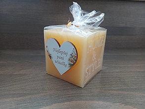 Svietidlá a sviečky - Darček pre pani učiteľku sviečka - 13471847_