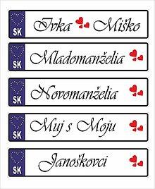Tabuľky - Svadobná tabuľka na auto - špz 19 (Mladomanželia) - 13471799_