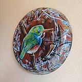 Obrazy - Kruhová dekorácia - maľba - vtáčik - 13472099_