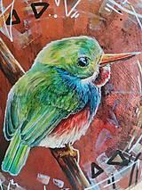 Obrazy - Kruhová dekorácia - maľba - vtáčik - 13472101_