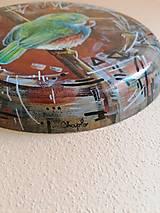 Obrazy - Kruhová dekorácia - maľba - vtáčik - 13472102_