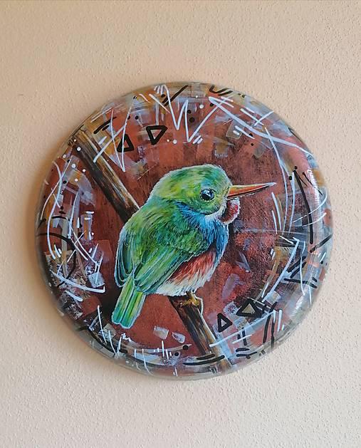 Kruhová dekorácia - maľba - vtáčik