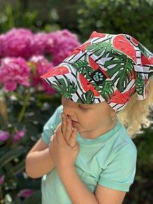 Detské čiapky - Letná šatka so šiltom melón s monsterou - 13472581_