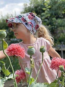 Detské čiapky - Letná šatka so šiltom maky a eukalyptus - 13472589_
