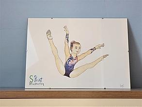 Obrazy - Malá gymnastka vo flitrovom drese, akvarel - 13471634_