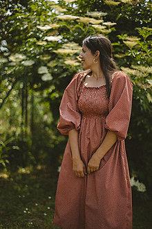 Šaty - Midi šaty s riasením (dlhý rukáv) - 13472697_
