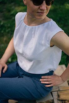 Topy - Biely ľanový top s riasením - 13472241_