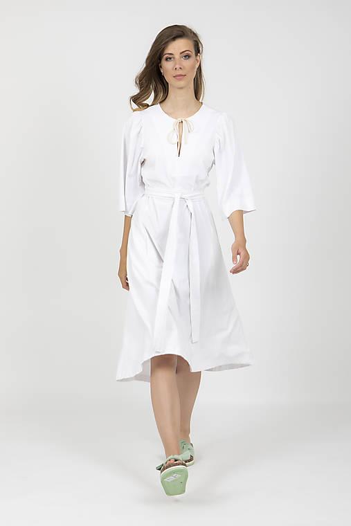Šaty - -ZĽAVA- MIESTNE BAVLNENÉ ŠATY ILONA (BIELE)  - 13475866_