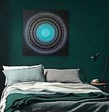 Obrazy - NEKONEČNÁ LÁSKA A ŠŤASTIE ♥ (smaragd-silver) 80 x 80 (100 x 100 cm) - 13475192_