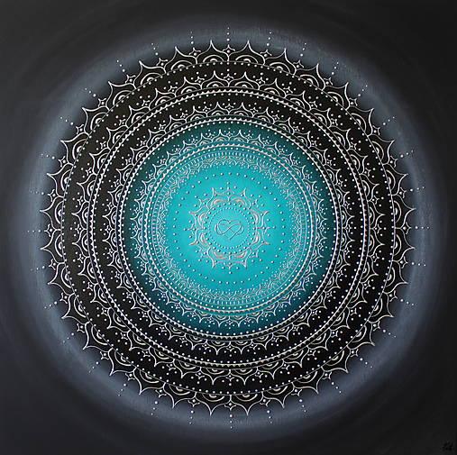 NEKONEČNÁ LÁSKA A ŠŤASTIE ♥ (smaragd-silver) 80 x 80 (100 x 100 cm)