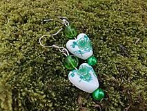 Náušnice - Náušničky srdiečka kvietky  zelené - 13474216_