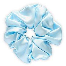 Ozdoby do vlasov - Saténová scrunchie | MAXI (Ice (bledomodrá)) - 13475715_
