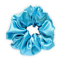 Ozdoby do vlasov - Saténová scrunchie | MAXI (Azure (modrá)) - 13475716_
