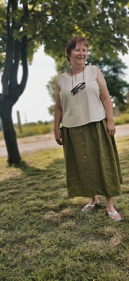 Sukne - Ľanová sukňa s veľkými vreckami (olivová) - 13475935_
