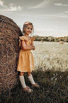 Detské oblečenie - Vtáča - dievčenské ľanové šaty s volánmi a mašľou - 13475930_
