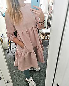 Šaty - Dámske riasené ľanové šaty - Stehlík - 13475954_