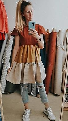 Šaty - Dámske riasené ľanové šaty - Stehlík - trojfarebné - 13475985_