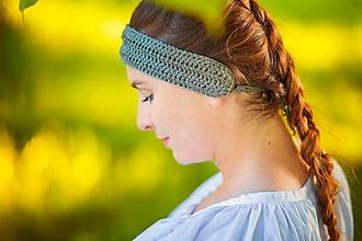 Ozdoby do vlasov - Ručne háčkované letné čelenky z ľanu - 13475018_