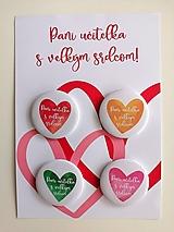 Odznaky/Brošne - Pani učiteľka s veľkým srdcom - sada 4 odznakov - 13474631_