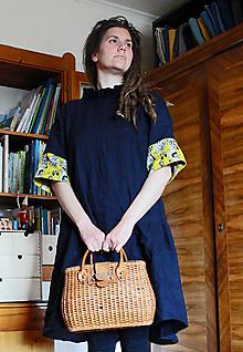 Šaty - Ľanové šaty midi Bosorácke, 1/2 rukáv - 13473631_