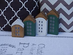 Dekorácie - Sada zelených drevených domčekov - 13477251_