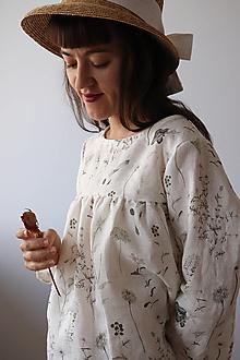 Topy - Nariasená akvarelová, ľanová Blúzka - 13476439_