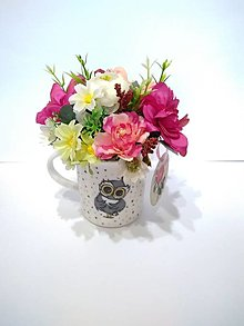 Dekorácie - sovičkový hrnček plný kvetov pre pani učiteľku - 13476099_