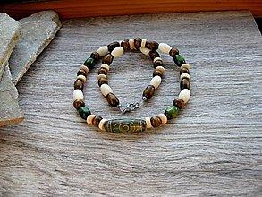 Šperky - Pánsky náhrdelník okolo krku z minerálov - chirurgická oceľ (Achát + drevené korálky, č. 3408) - 13477876_