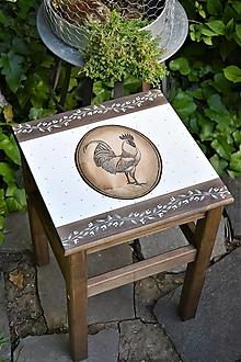 Nábytok - Vidiecky stolík s kohútom - 13476055_