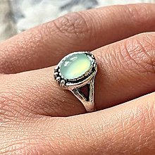 Prstene - Antique Silver Chalcedony Ring / Vintage prsteň s aqua chalcedónom #2009 - 13479957_
