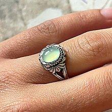 Prstene - Antique Silver Chalcedony Ring / Vintage prsteň s aqua chalcedónom #2009 - 13479964_