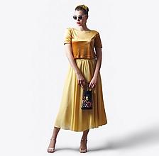 Sukne - Sukňa šifónová žltá midi - 13483807_