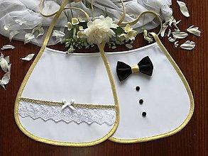 Iné doplnky - Svadobné podbradníky so zlatou - 13482524_