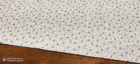 Textil - Bavlnená látka - Kvietočky hnedé - cena za 10 centimetrov - 13482205_