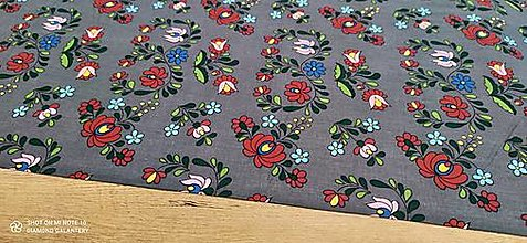 Textil - Bavlnená látka folk (Šedá) - 13482215_