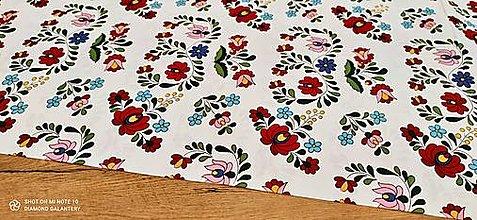 Textil - Bavlnená látka folk (Biela) - 13482219_
