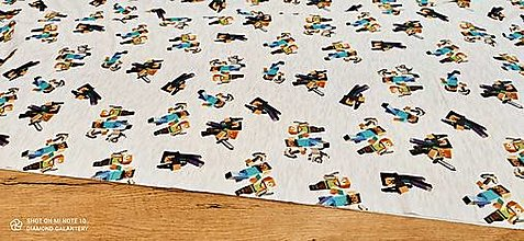 Textil - Teplákovina - Minecraft - cena za 10 centimetrov (Šedá) - 13482229_