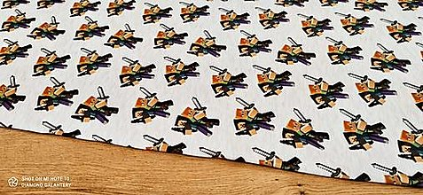 Textil - Teplákovina - Minecraft - cena za 10 centimetrov (Šedá II) - 13482232_
