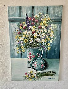 Obrazy - Zátišie lúčne kvety - 13484061_