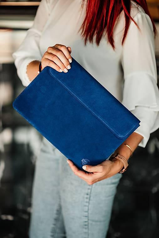 Na notebook - Puzdro na notebook z brúsenej kože Spring modré - 13482327_