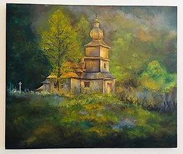 Obrazy - Drevený kostolik v Dobroslave - maľba akrylom - 13484492_