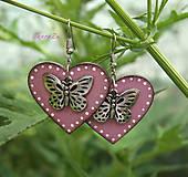 Náušnice - Motýle v srdci - 13483826_