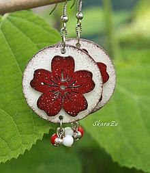 Náušnice - Kvetinky v červenej - 13483946_